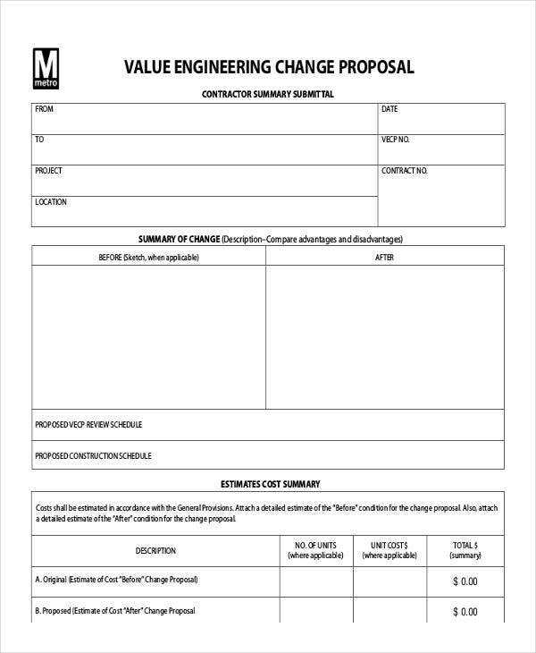 proposal for value engineering