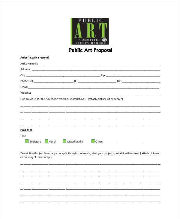 artist proposal samples Art Proposal Templates - 6  Free Word, PDF Format Download | Free ...