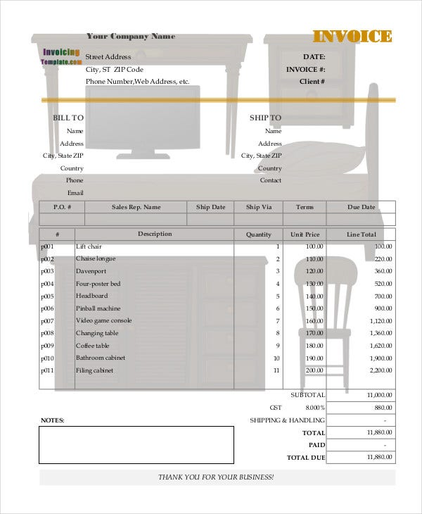 purchase invoice for furniture