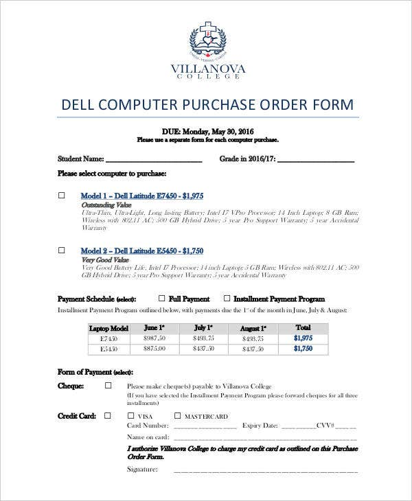 purchase order for computer system