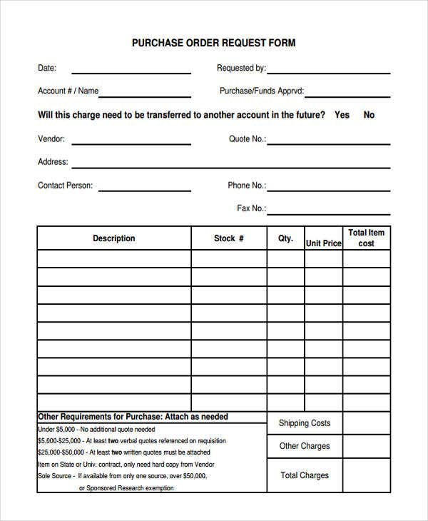 Purchase Order Request  Examples Of Purchase Order Forms