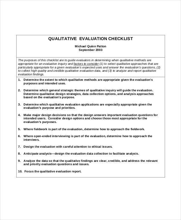 qualitative project evaluation checklist