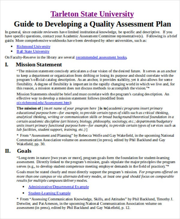 quality assessment plan