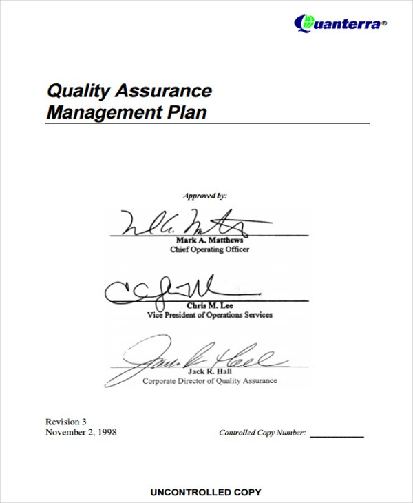 quality assurance management plan