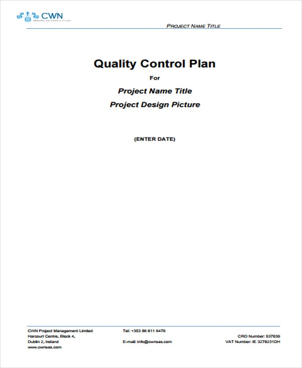 quality control management plan