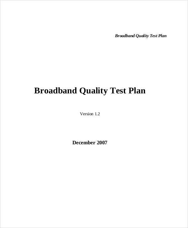 quality test plan