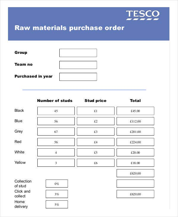 raw material purchase order