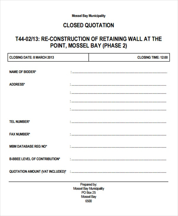 Construction Quotation Templates  Pdf Doc  Free  Premium