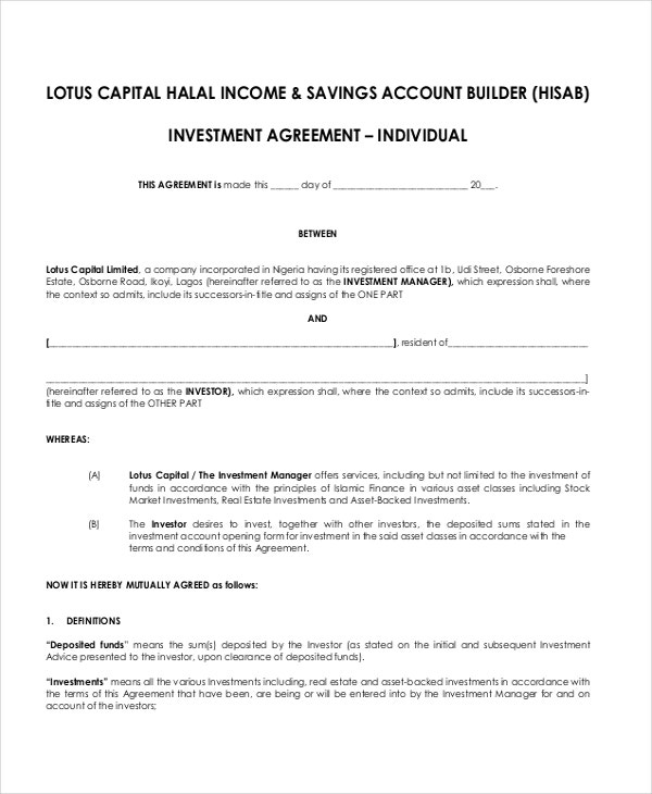 Investment Agreement Investment Management Agreement Form