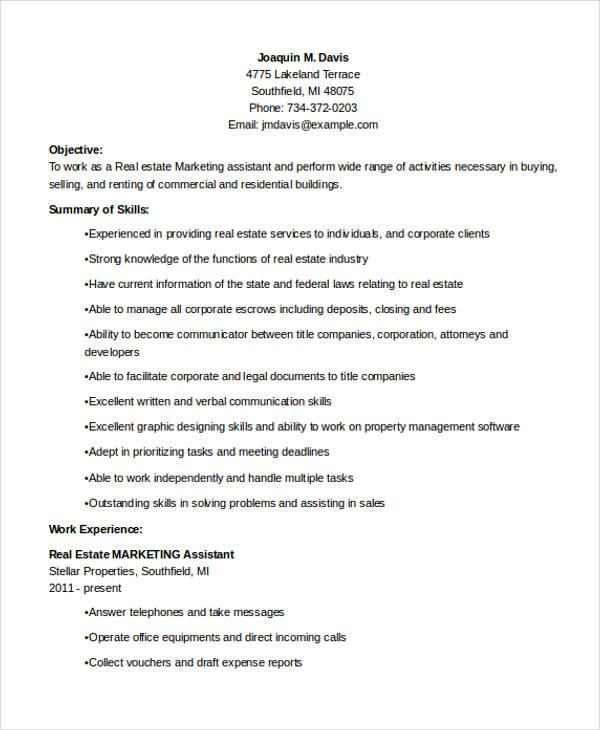 real estate marketing assistant resume