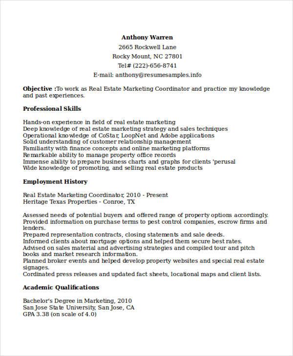 real estate marketing coordinator resume