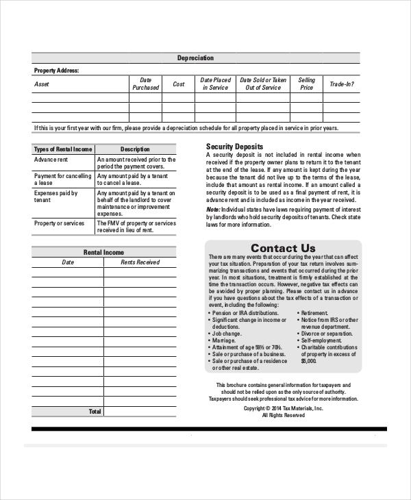 real estate rental expense sheet