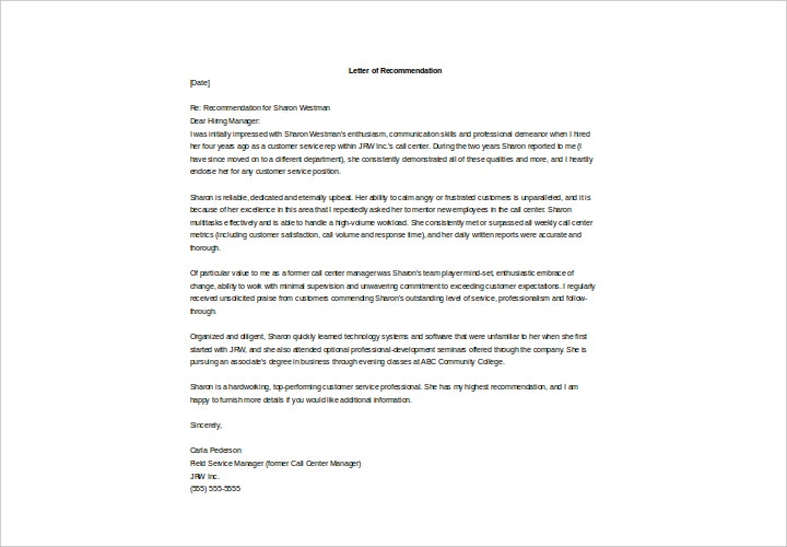 Former Employee Recommendation Letter Sample from images.template.net