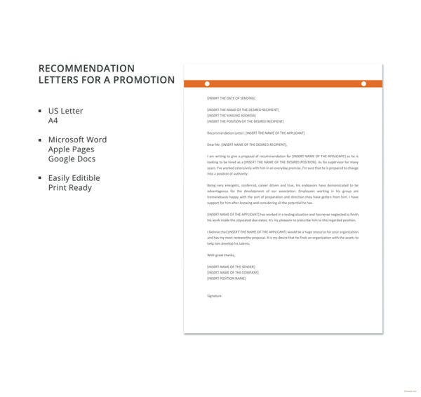 recommendation letter for promotion template