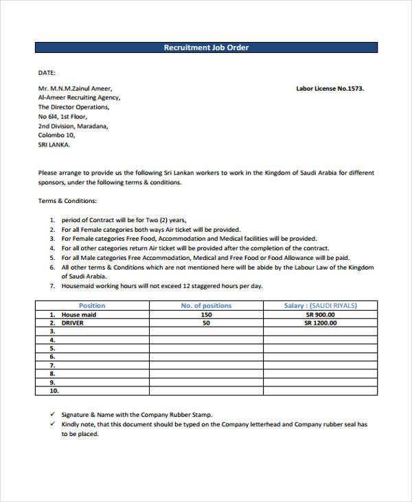 recruitment job order