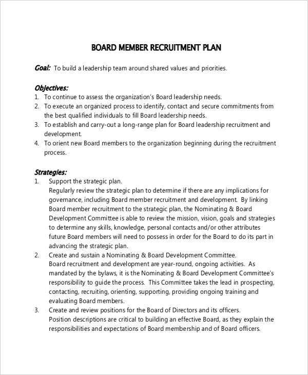 recruitment plan for board