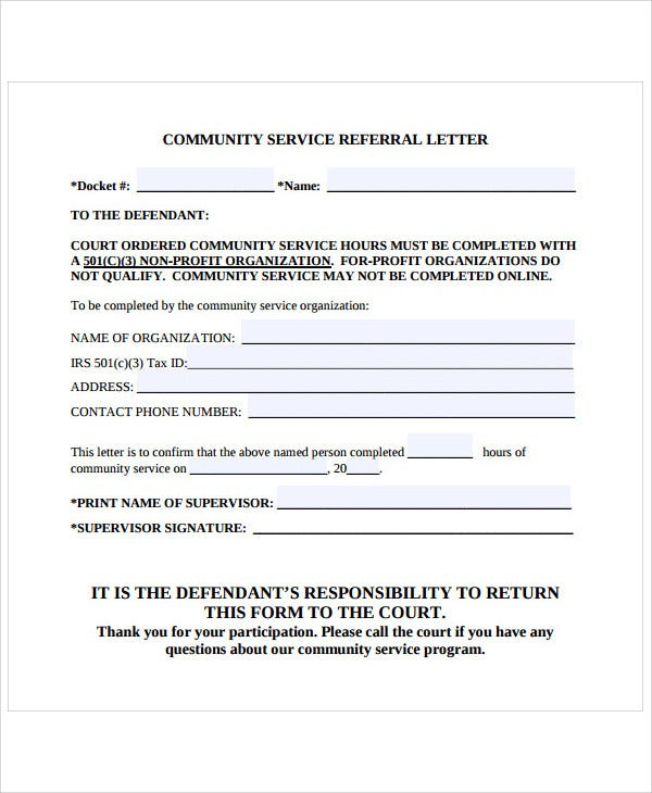 referral letter for community service