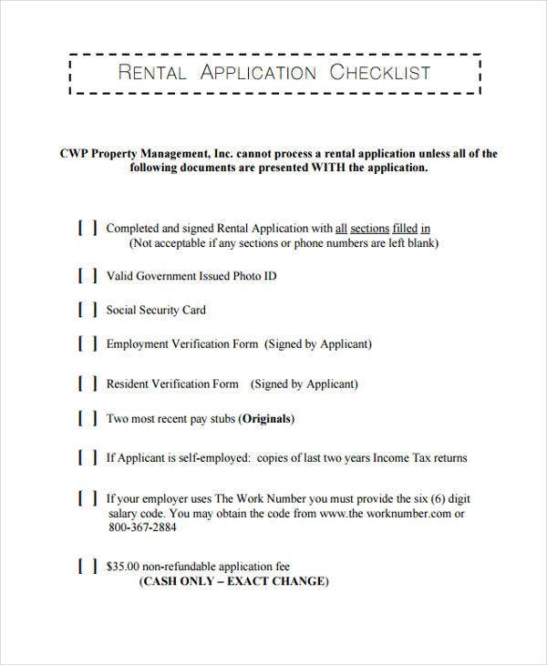 New Rental List: 36 Printable Checklist Templates