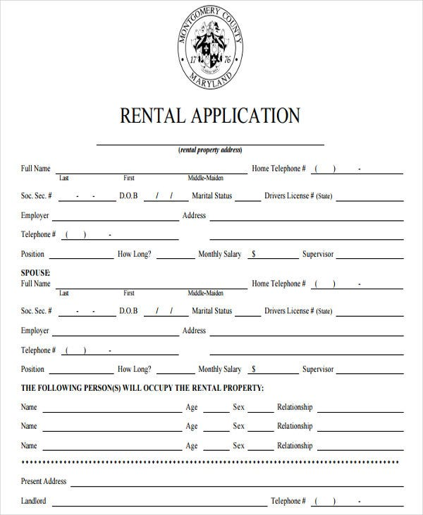 rental application for standard house