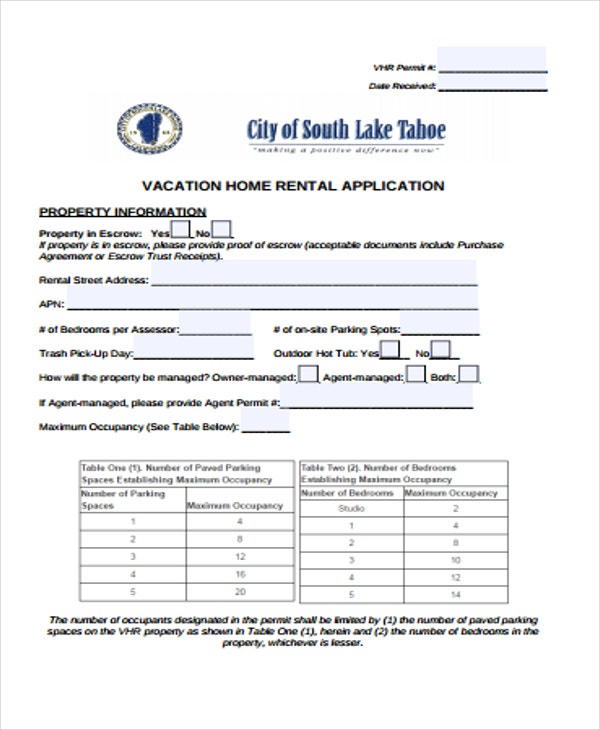 rental application for vacation home