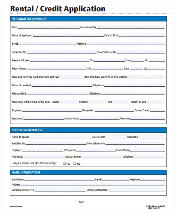 rental credit application