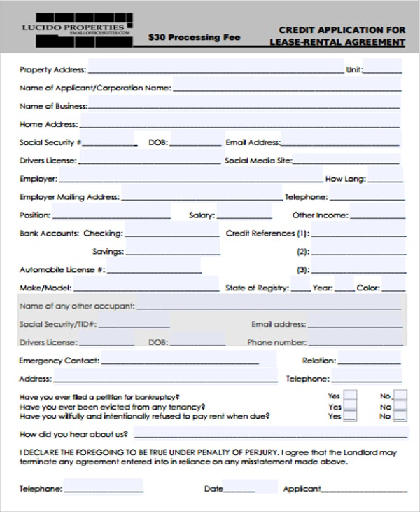 rental lease credit application