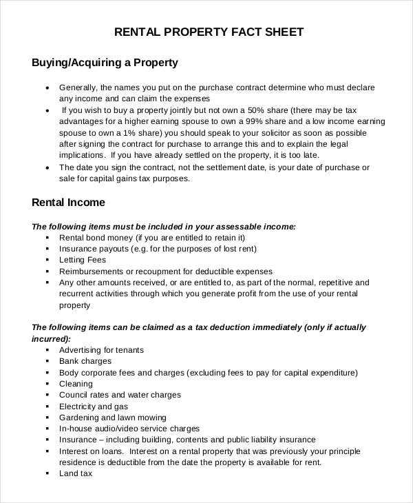 rental property fact sheet