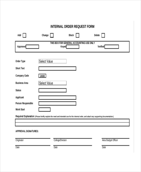 request form for internal order