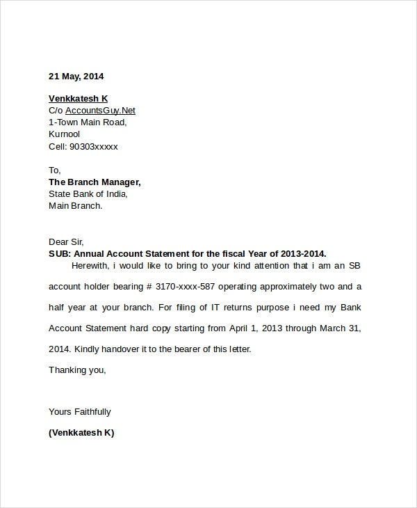 request letter for account statement
