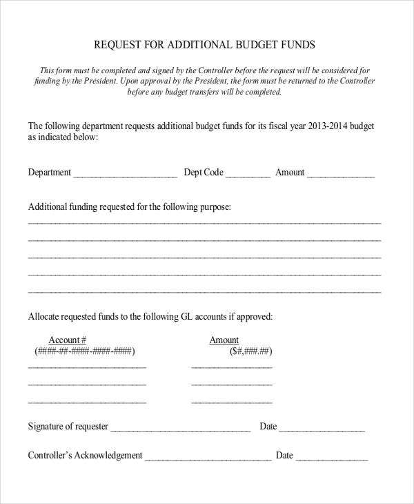 request letter for additional budget