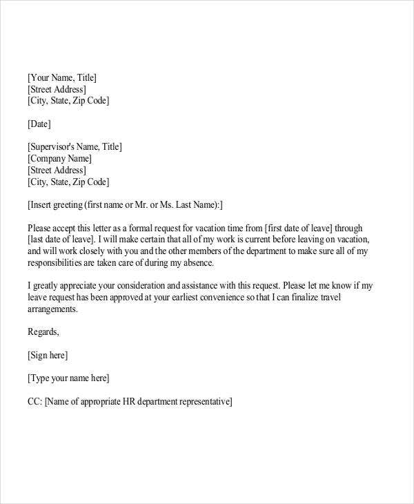 Vacation request letters gidiyedformapolitica vacation request letters altavistaventures Choice Image