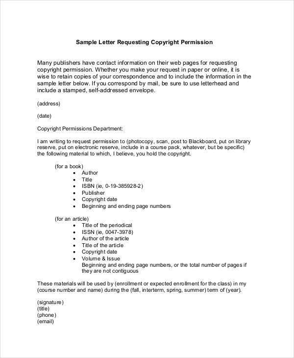 request letter for copyright permission