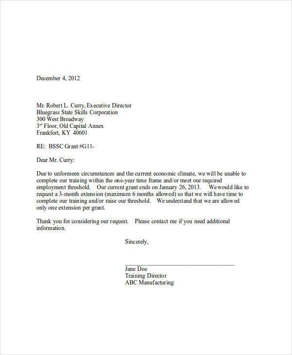 request letter for grant extension