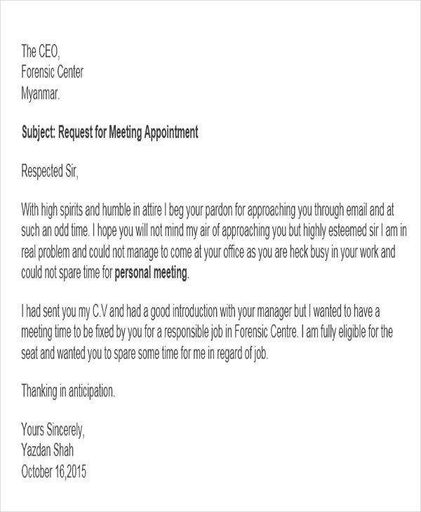 92 request letter samples pdf word apple pages for Email template to request a meeting