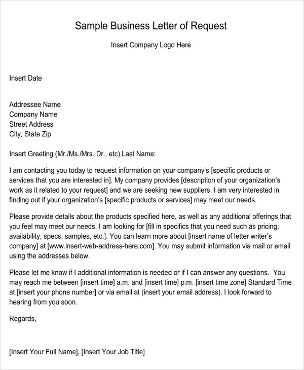 sample business letter of request bizbillacom