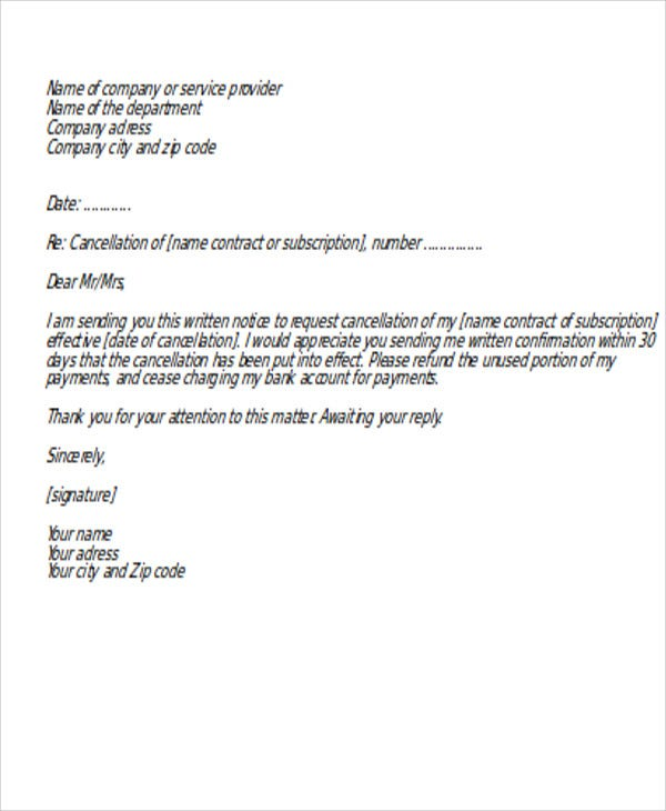 request letter for service cancellation