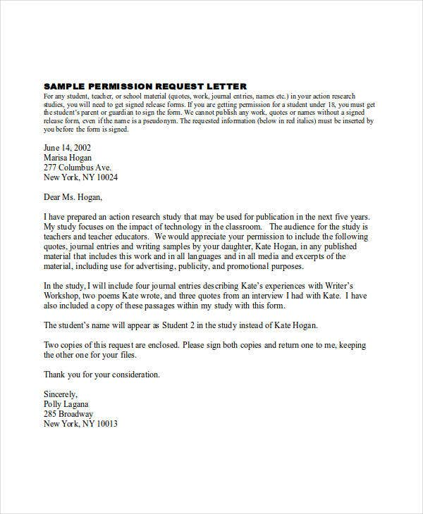 sample permission request letter