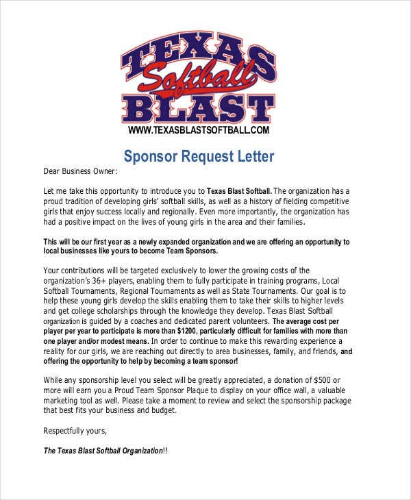 request letter for team sponsorship