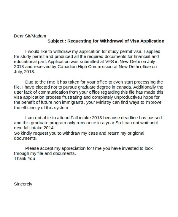 request for withdrawal of visa application