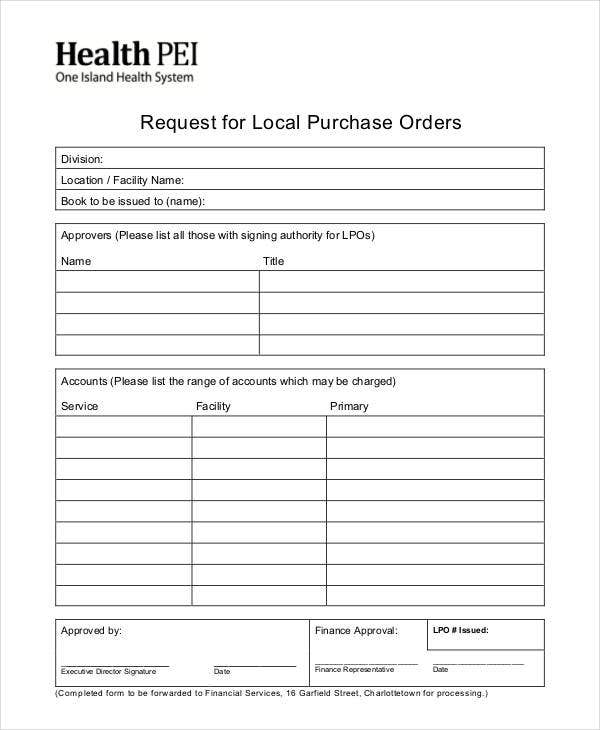 Request For Local Purchase  Local Purchase Order Format
