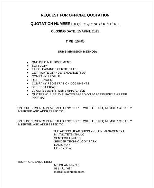 request for official quotation template