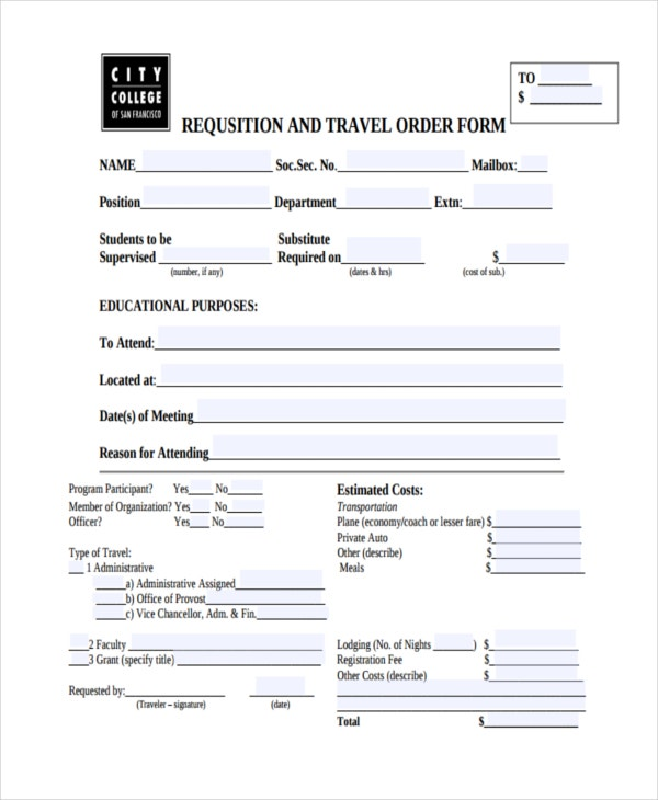 requsition travel order