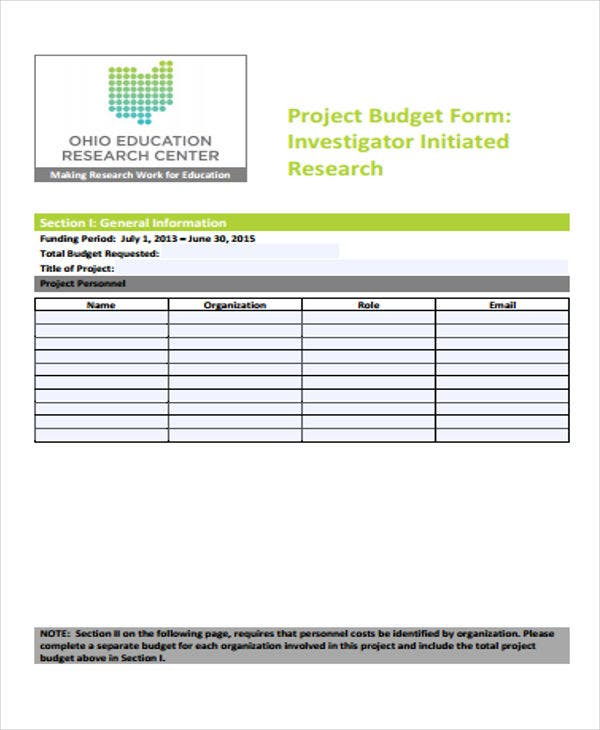 research budget for project