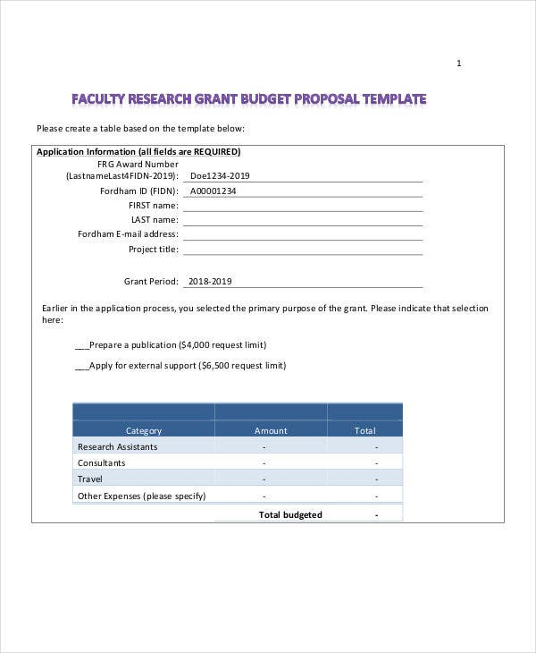 7 Research Budget Templates Free Sample Example Format – Grant Budget Example