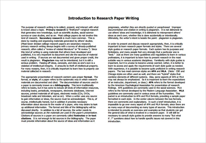 sample research paper introductions What follows is a hypothetical example of a research paper based on an experiment.