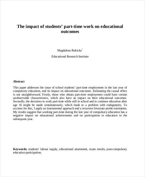 research paper for working student