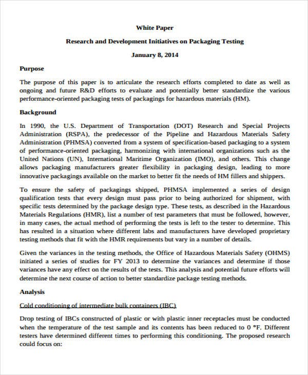 research and development white paper