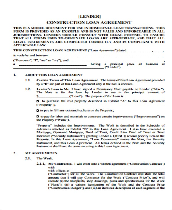 Construction Loan Agreement Form Samples