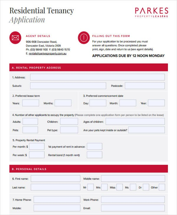 residential property rental application
