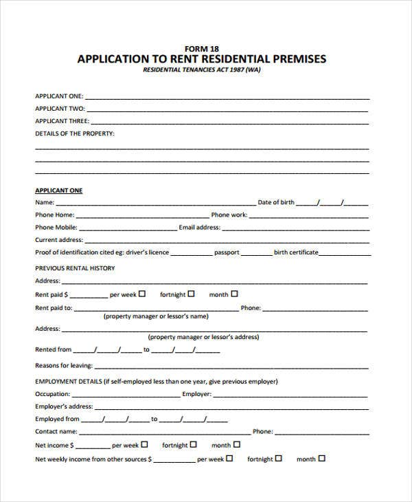 residential rental application